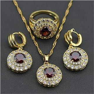 مجوهرات الزفاف كريستال قلادة مجموعات سلسلة قلادة أقراط مجوهرات هدايا للنساء يانجين (اللون: حجم الخاتم 10)