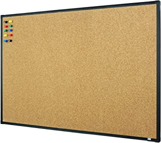 Lockways Bulletin Cork Board, 3 x 2 Notice Board, 36 x 24 Inch Corkboard Ultra-Slim Black Aluminium Frame U12118782609