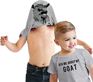 Toddler Ask Me About My Goat Funny Animal Flip Up T Shirt for Kids