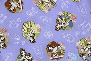 Beauty and The Beast Belle Blue Licensed Sheeting Fabric Cotton 4 Oz 44-45