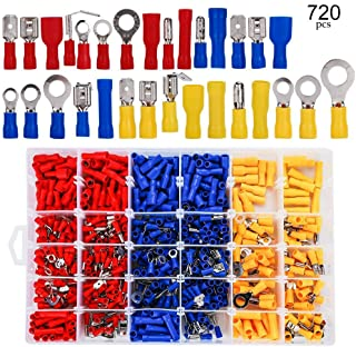 HIFROM 720pcs Insulated Wiring Terminals Wire Connectors Assortment-Electrical Crimp CableTerminals Kit-Spade Ring Fork Ring Bullet Male & Female/Butt Splice/Piggy Back Set