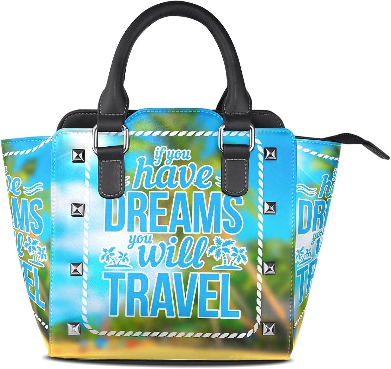 My Little Nest Women's Top Handle Satchel Handbag Summer Quote Ladies PU Leather Shoulder Bag Crossbody Bag