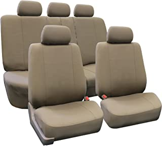 FH Group FB051GRAY115 Gray/Black Rear Split Flat Cloth Multifunctional Seat Cover (Airbag Compatible Full Set) FB052TAUPE1...