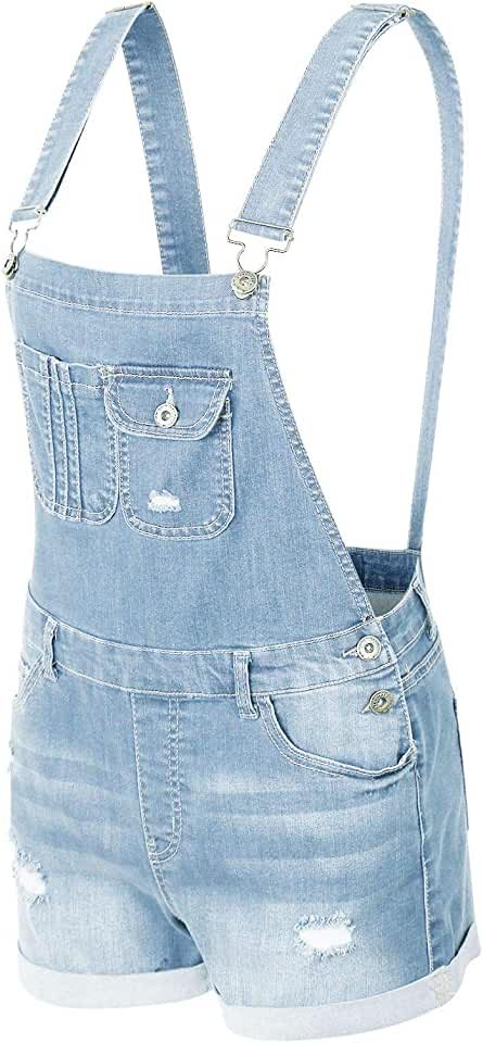 makeitmint Women's Trendy Distressed Pocket Denim Jean Short Overall Shortall