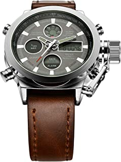 Golden Hour Fashion Brown Leather Men's Military Watch Waterproof Analog Digital Sports Watches for Men