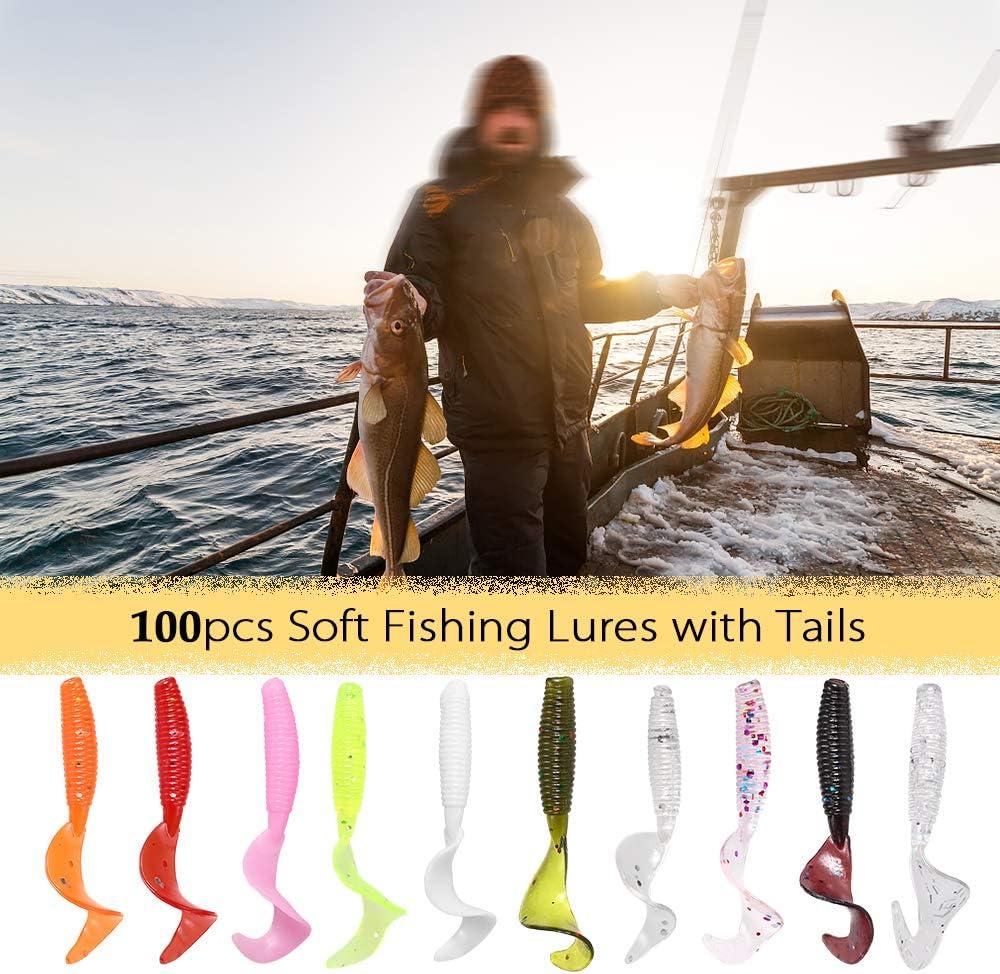 Lixada 100pcs 4cm Soft Artificial Fishing Lures Swimbait Tail Grub Lures Worm Moggot Grub Lures Baits