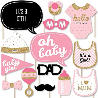 Big Dot of Happiness Hello Little One - Pink and Gold - Girl Baby Shower Photo Booth Props Kit - 20 Count