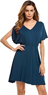 Zeagoo Women Summer V-Neck Split Sleeve Casual Fit Flare Tunic Dress