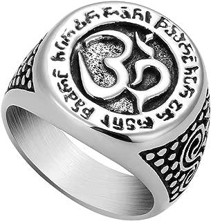 PieringJ Men Stainless Steel Rings Hinduism OM Symbol Yoga Om Mani Padme Hum Buddhist Prayer Signet Ring Religious Jewelry Size 9-13
