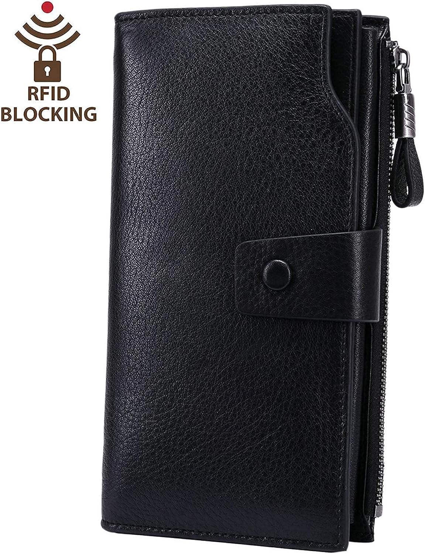 Women's RFID Blocking Wax Genuine Leather Clutch Wallet Multi Card Organizer