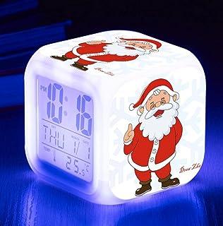 Digitala väckarklockor, LED nattglödande kub LCD-klocka med lätta barn vaknar sängklockan Xmas-present till pojken