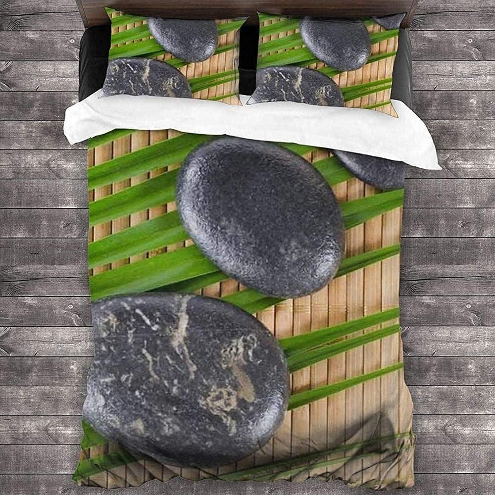 Juego de ropa de cama de 3 habitaciones sobre una estera de bambú, sábana suave y cómoda para todas las estaciones, adecuada para adolescentes y adultos Funda nórdica de microfibra 200 * 200