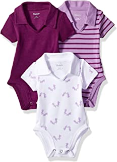 Hanes Ultimate Baby Girls Flexy 3 Pack Short Sleeve Polo Bodysuits