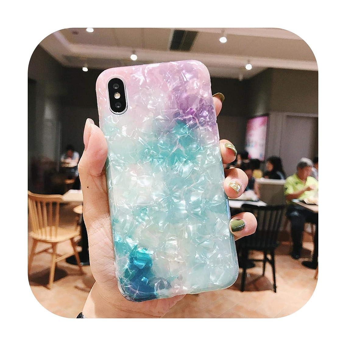 メジャー集める低下光沢のある大理石ケースiPhone 7 X 11ケース用グリッターパターン化された巻き貝シリコーンiPhone 6 s 7 8プラスXR XS 11プロマックスケース-5-For iPhone Xs Max