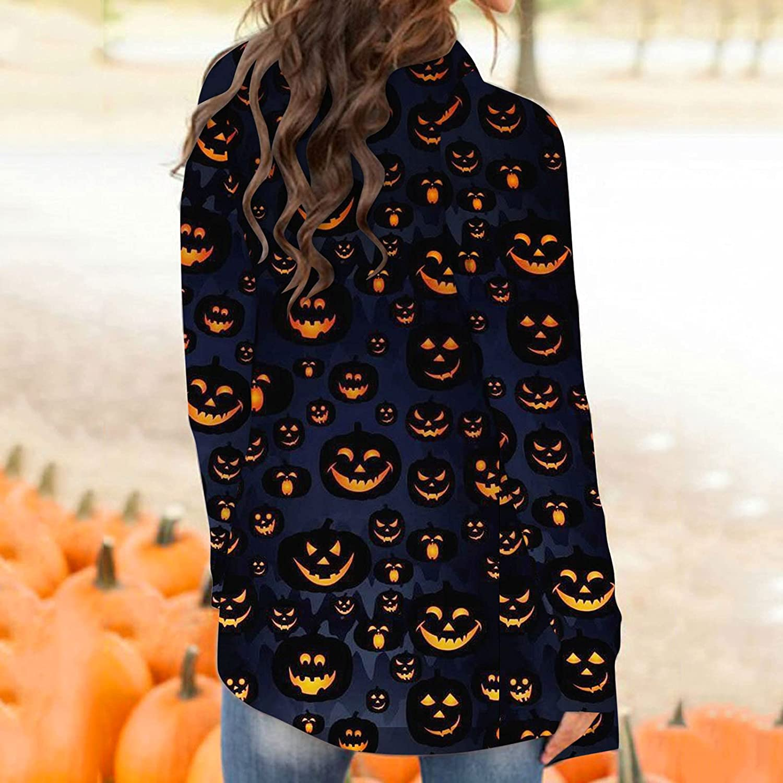 AIHOU Halloween Costumes for Women Long Sleeve Cardigan Funny Cat Pumpkin Print Open Front Knit Sweaters Lightweight Coat