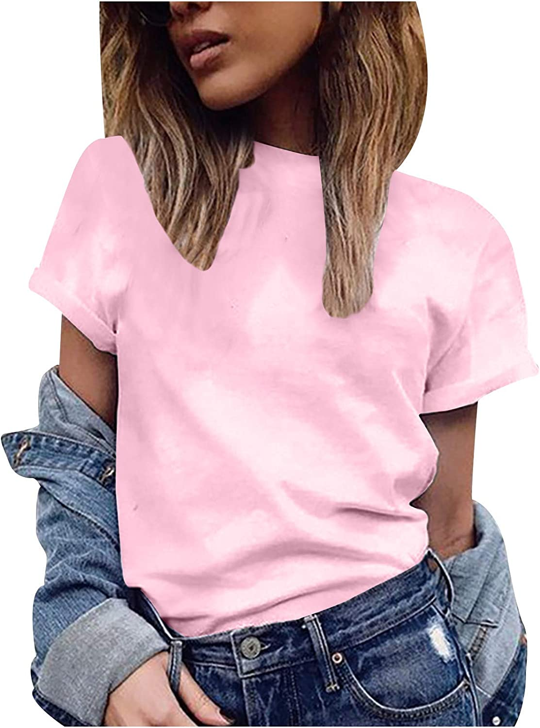 Musommer Women Basic T-Shirt San Antonio Mall Girl's Short O-Neck Max 65% OFF Solid Sleeve To