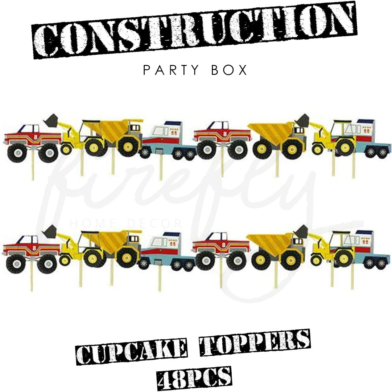 Truck Firefly Construction Birthday Party Supplies Decorations Kids Included 2 Truck Balloon with Total of 70 pcs