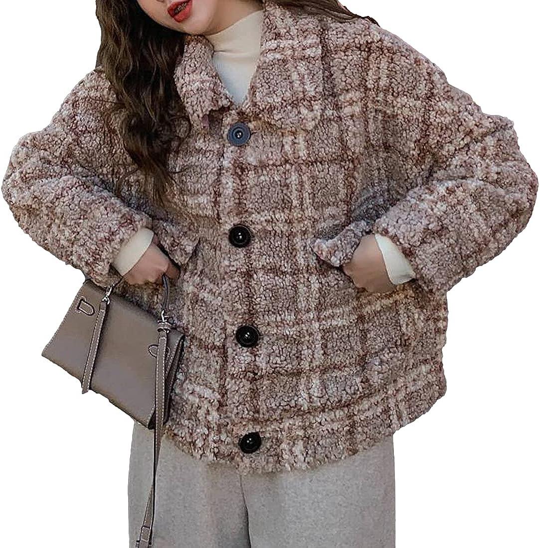 Omoone Women's Plaid Wool Pea Coats Faux Fur Fuzzy Cashmere Lapel Single Breasted Outwear