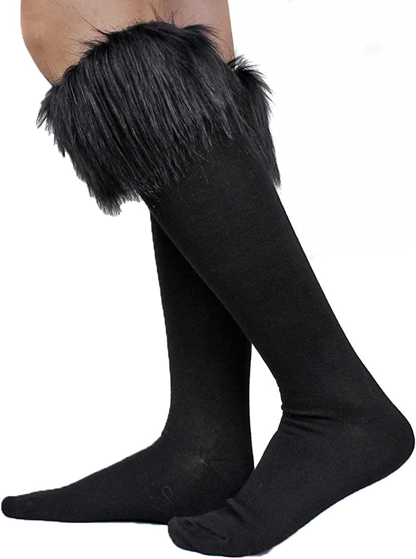 Women's Fur Socks Furry Fuzzy Leg Warmers Soft Boot Cuffs Cover High Socks
