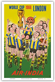 1966 World Cup London, England - Air India - Maharaja Soccer Player - Vintage Airline Travel Poster - Master Art Print - 12in x 18in