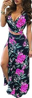 Adogirl Womens Sexy V Neck 2 Piece Outfits Floral Boho Summer Beach Split Maxi Dress