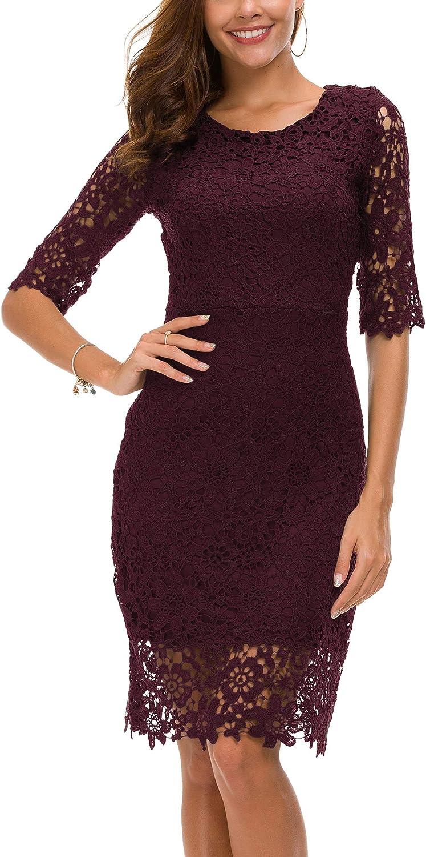 Urban CoCo Women's Lace Sheath Dress Slim Fit Midi Dress