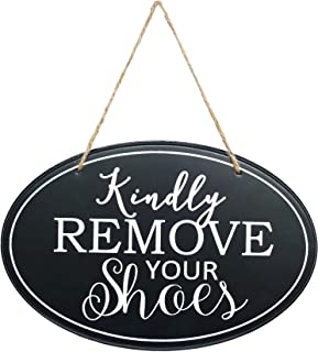 NIKKY HOME Wooden Wall Decorative Door Sign - Kindly Remove Your Shoes - 11 x 7 Inches
