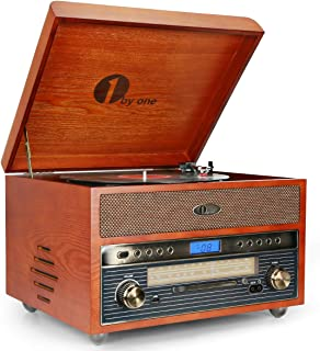 1byone Nostalgic Wooden Turntable Wireless Vinyl Record Player with AM, FM, CD, MP3 Recording to USB, AUX Input for Smartphone and Tablets, RCA Output