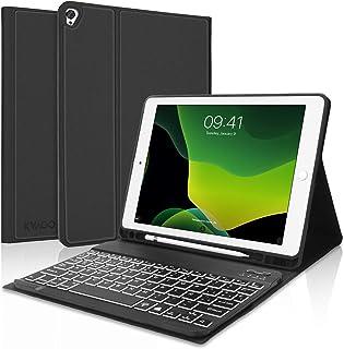 KVAGO Teclado iPad 10.2 con Funda,Teclado Funda para iPad 10.2 2020(8ª Gen)/iPad 10.2 2019(7ª Gen)/iPad Air 3/iPad Pro 10.5 con Teclado Español Bluetooth 7 Color Retroiluminación, Negro