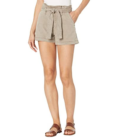 Paige Anessa Shorts w/ Pleated Waistband Tie in Vintage Moss Taupe Women