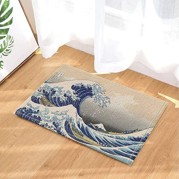 Zhanghui2018 Light Blue Ocean Black Turtle Black Spot Bathroom Mat Right Angle Non Slip Door Pad Children 40X60CM