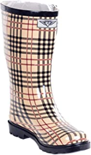 Women's '' Plaid Rubber 11-inch Mid-Calf Rain Boots