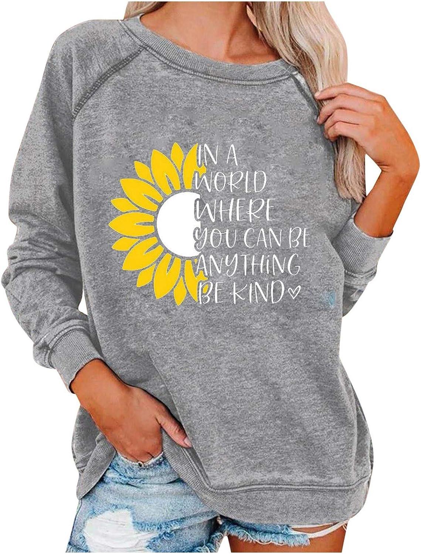 FUNEY Casual Loose Fit Sunflower Print Pullover Sweatshirt Women's Fashion Long Sleeve O Neck Raglan Tunic Tops Blouse