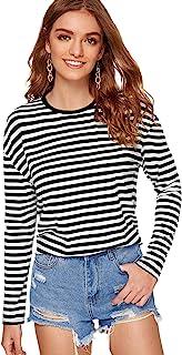 SweatyRocks Women's Mock Neck Twist Front Striped Long Sleeve Crop Top T Shirt