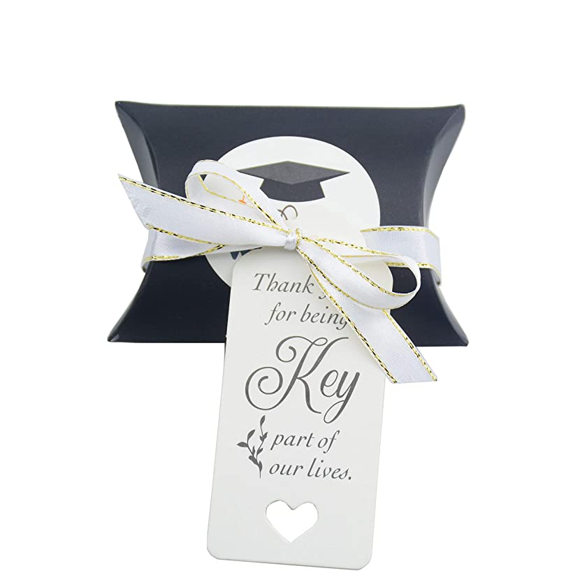 50pcs Vintage Kraft Paper Candy Box Gift Box with RibbonTags for Wedding Birthday Graduation Party (Black)