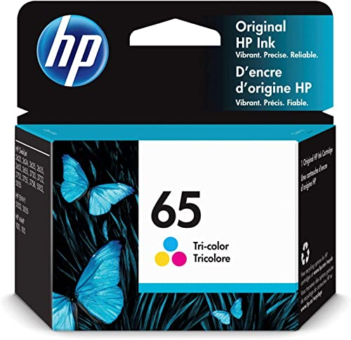 HP 65 | Ink Cartridge | Tri-color | Works with HP DeskJet 2600 Series, 3700 Series, HP ENVY 5000 Series, HP AMP 100, ...