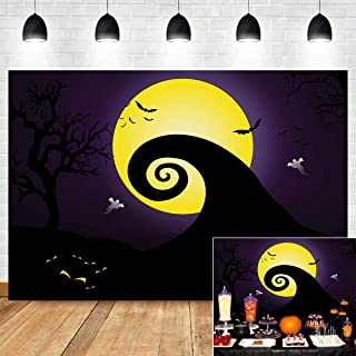 Yellow Full Moonlight Pumpkin Jack Themed Photo Background Birthday Photo Booth Studio Props Nightmare Before Christmas Decorations Photography Backdrop Vinyl 5x3ft Baby Shower Supplies Party Banner