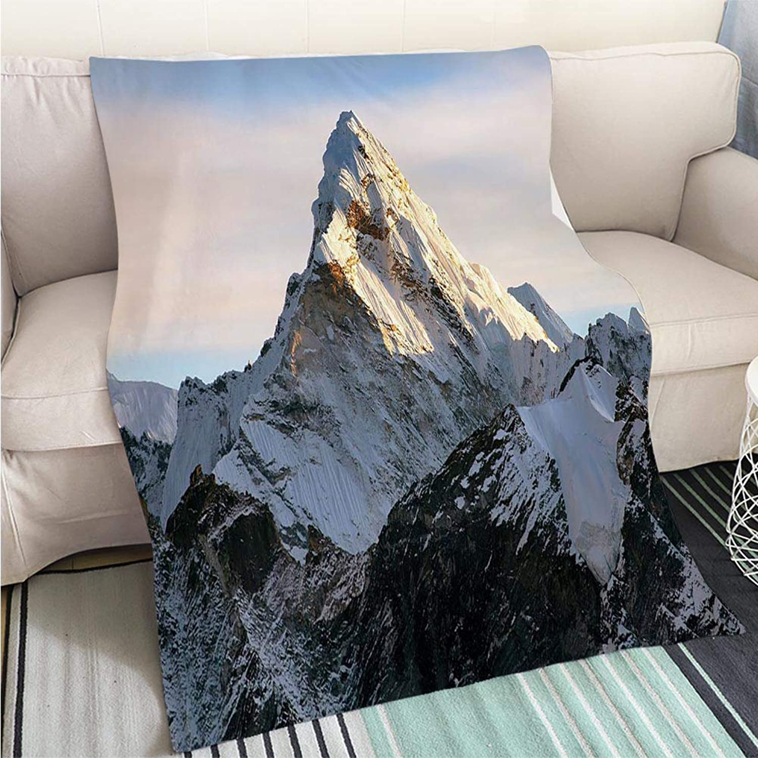 BEICICI Comforter Multicolor Bed or Couch Evening View of AMA Dablam Living Room Bedroom Warm Blanket