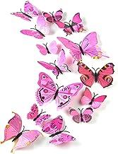 TUPARKA 36 stuks 3D vlinders deco vlinder wanddecoratie vlinder muursticker 3D wandtattoo vlinders balkon decoratie (roze)