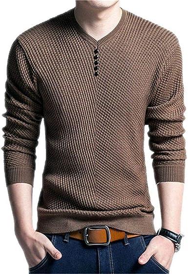 Suéter De Color Sólido con N Hombres Hombres Cuello Modernas ...