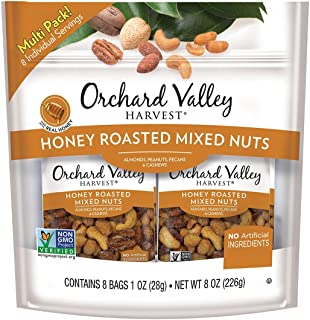 ORCHARD VALLEY HARVEST Honey Roasted Mixed Nuts, Non-GMO, No Artificial Ingredients, 1 oz (Pack of 8)