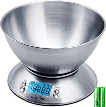 Amicable Digital Kitchen Scale High Accuracy Multifunction Food Scale Bowl 2.15L Liquid Volume Room Temperature and Timer,...