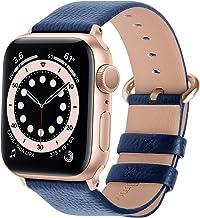 Fullmosa Correa de Apple Watch, 38 mm 40 mm 42 mm 44 mm Correa Compatible con iWatch, Correa de Cuero, Compatible con Apple Watch SE y Serie 6 5 4 3 2 1, Azul Oscuro + Hebilla de Oro Rosa, 38mm/40mm