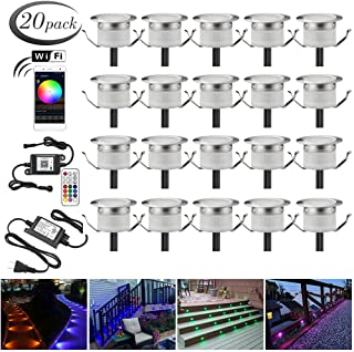 """LED Deck Lights Kit, 20pcs Φ1.22"""" WiFi Wireless Smart Phone Control Low Voltage Recessed RGB Deck Lamp In-ground Lighting Waterproof Outdoor Yard Path Stair Landscape Decor, Fit for Alexa,Google Home"""