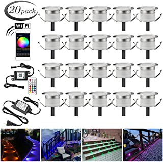 LED Deck Lights Kit, 20pcs Φ1.22 WiFi Wireless Smart Phone Control Low Voltage Recessed RGB Deck Lamp In-ground Lighting Waterproof Outdoor Yard Path Stair Landscape Decor, Fit for Alexa,Google Home