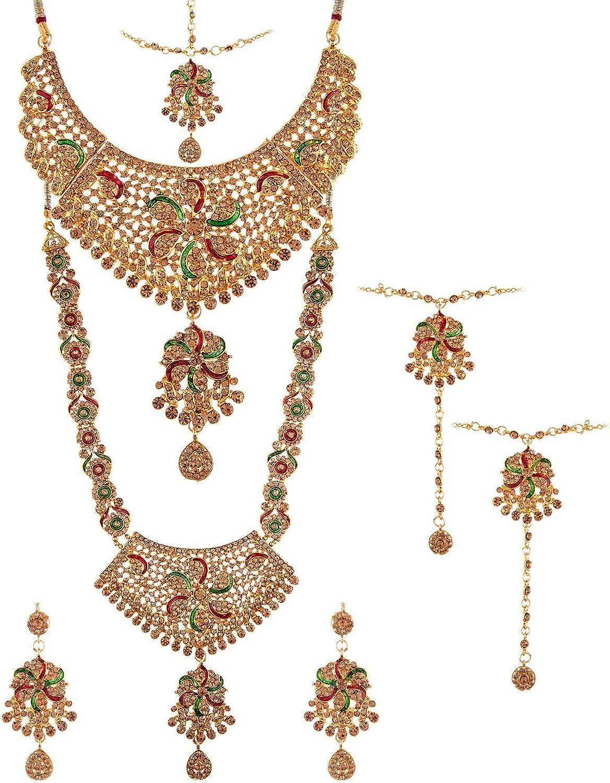 Efulgenz Indian Bollywood Bridal Wedding Rhinestone Choker Necklace Earring Maang Tikka Head Chain Nose Ring Bracelet Jewelry Set