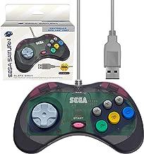Retro-Bit Official Sega Saturn USB Controller Pad (Model 2) for Sega Genesis Mini, PS3, PC, Mac, Steam, Nintendo Switch - USB Port - Slate Grey