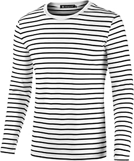uxcell Men Casual Crew Neck Long Sleeve Striped Knitted Pullover T Shirt Tee Top