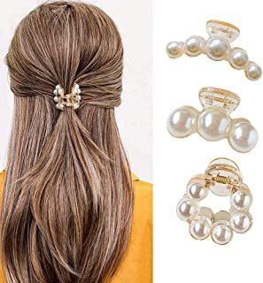 3Pcs Hair Claw Clips for Women,Pearl Jaw Clips, Hair Claw Clamps Champagne Pearl Hair Barrettes Hair Clips Pins Ties Hair ...