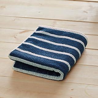 [ベルメゾン] バスタオル 速乾 ふんわり 約34×120cm ネイビー ボーダー ハンガーに干せるバスタオル
